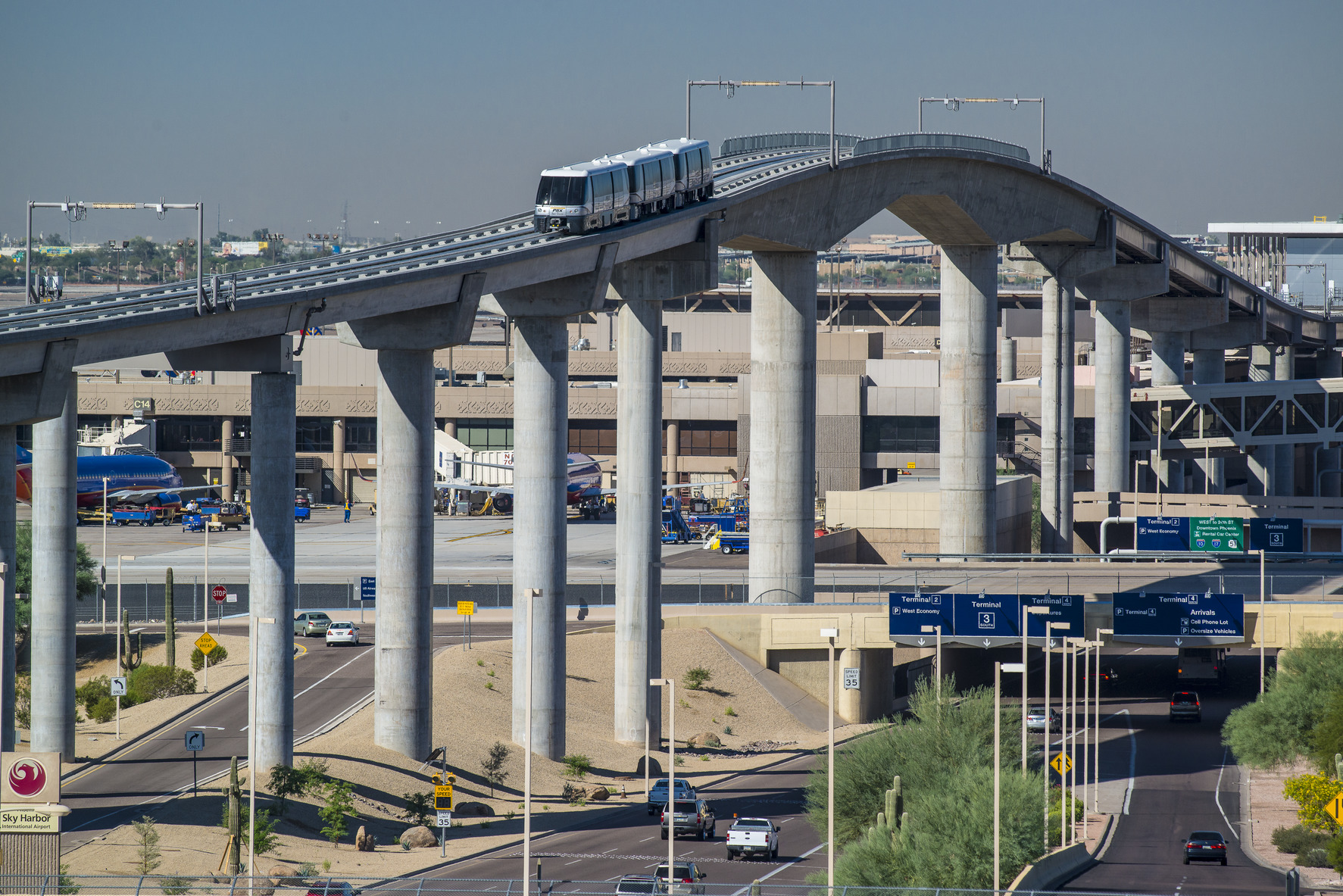 Kimley-Horn provided planning, design & construction support services for the Sky Train people mover at Phoenix Sky Harbor International Airport.