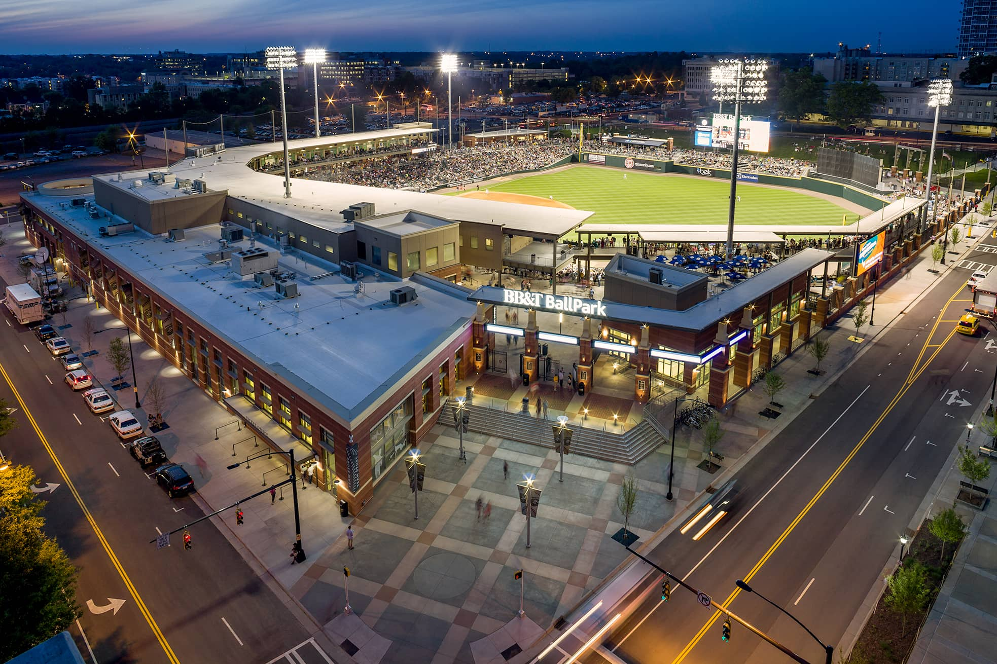 Kimley-Horn performed landscape architecture, streetscape, and urban corridor design for BB&T Ballpark, home of the Charlotte Knights AAA baseball team.
